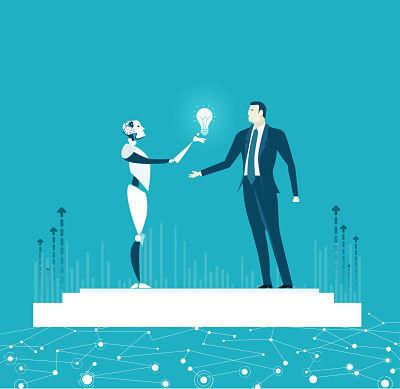 RPA Robotic progress automatisation concept illustration. Humans vs Robots. Robot surprising businessmen with idea.